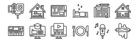 set of 12 linear stay at home icons. thin outline