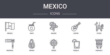 set of 10 mexico concept line icons