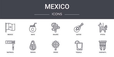 set of 10 mexico concept line icons