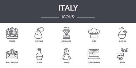 set of 10 italy concept line icons Illustration