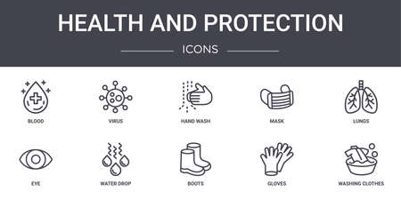 set of 10 health and protection concept line icons