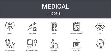 set of 10 medical concept line icons Illustration