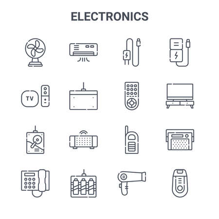 set of 16 electronics concept vector line icons.