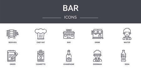 set of 10 bar concept line icons