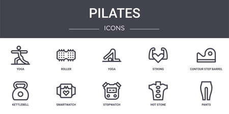 set of 10 pilates concept line icons Illustration