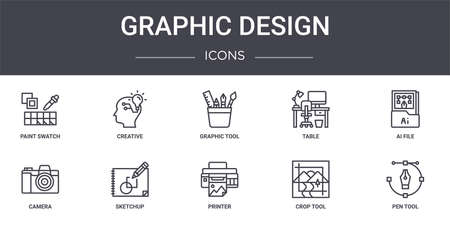 set of 10 graphic design concept line icons