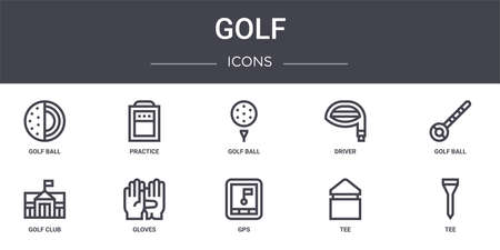 set of 10 golf concept line icons Illustration