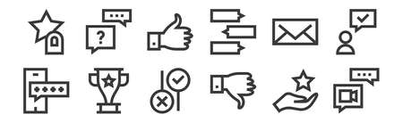 set of 12 linear feedback and testimonials icons. thin outline