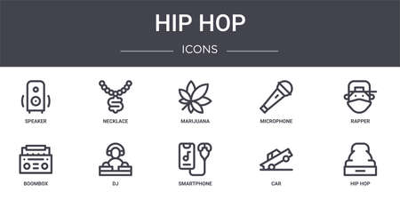 set of 10 hip hop concept line icons Illustration