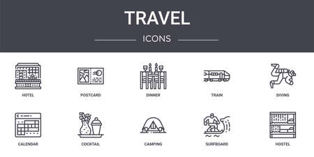 set of 10 travel concept line icons Illustration