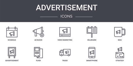 set of 10 advertisement concept line icons Illustration