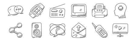 set of 12 linear technology icons. thin outline