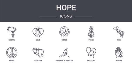 set of 10 hope concept line icons