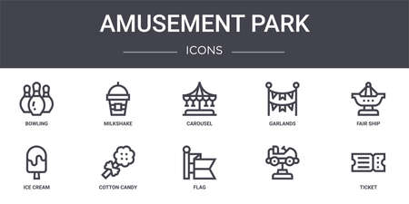 set of 10 amusement park concept line icons