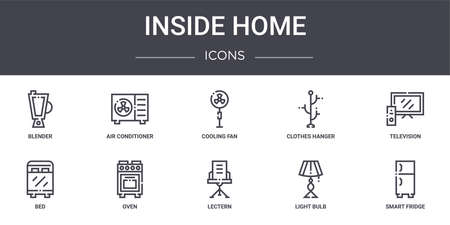 set of 10 inside home concept line icons Illustration