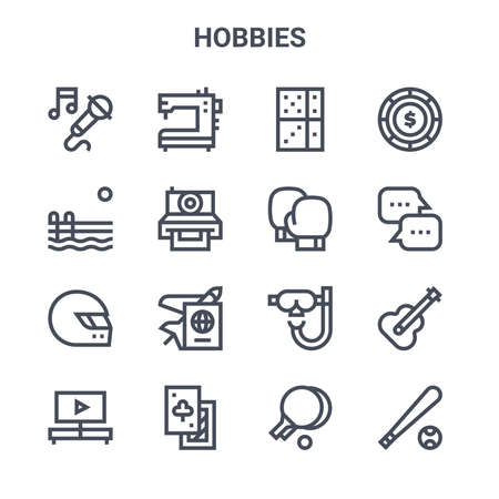 set of 16 hobbies concept vector line icons.