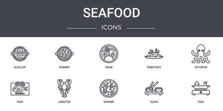 set of 10 seafood concept line icons Illustration