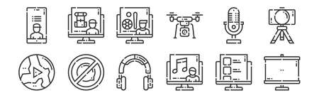 set of 12 linear videoblogger icons. thin outline