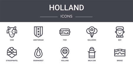 set of 10 holland concept line icons Illustration