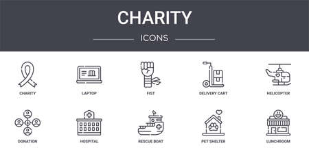 set of 10 charity concept line icons