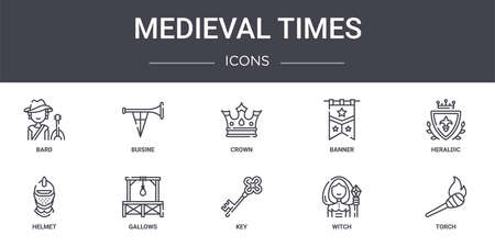 set of 10 medieval times concept line icons Illustration