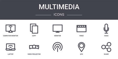 set of 10 multimedia concept line icons
