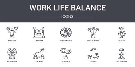 set of 10 work life balance concept line icons