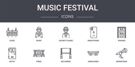 set of 10 music festival concept line icons Illustration