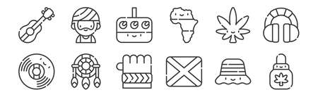 set of 12 linear reggae icons. thin outline Illustration