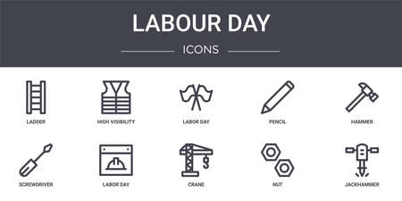 set of 10 labour day concept line icons Illustration