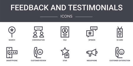set of 10 feedback and testimonials concept line icons Illustration