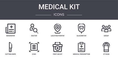 set of 10 medical kit concept line icons Ilustracje wektorowe