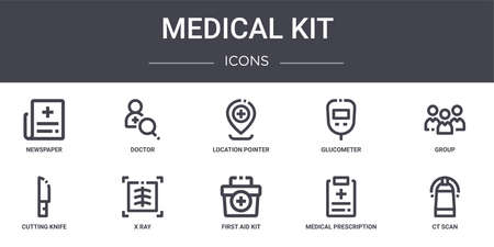 set of 10 medical kit concept line icons Illustration