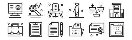 set of 12 linear business icons. thin outline