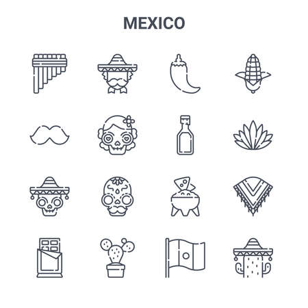 set of 16 mexico concept vector line icons. Illustration