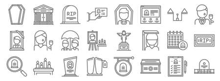 funeral line icons. linear set. quality vector line Illustration