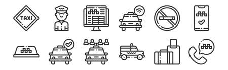 set of 12 linear taxi service icons. thin outline Illustration