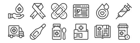 set of 12 linear medicine icons. thin outline Illustration