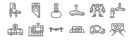 set of 12 linear technology of the future icons. thin outline Illustration