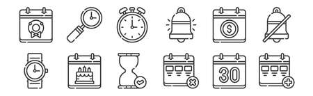 set of 12 linear calendar and date icons. thin outline