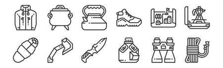 set of 12 linear camping icons. thin outline