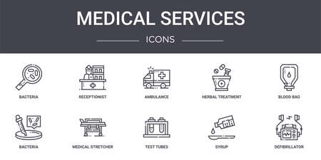set of 10 medical services concept line icons