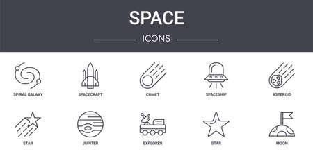 set of 10 space concept line icons
