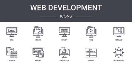 set of 10 web development concept line icons