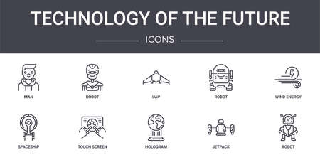 set of 10 technology of the future concept line icons