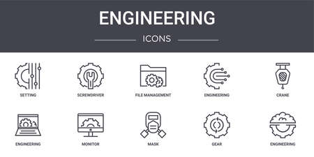 set of 10 engineering concept line icons