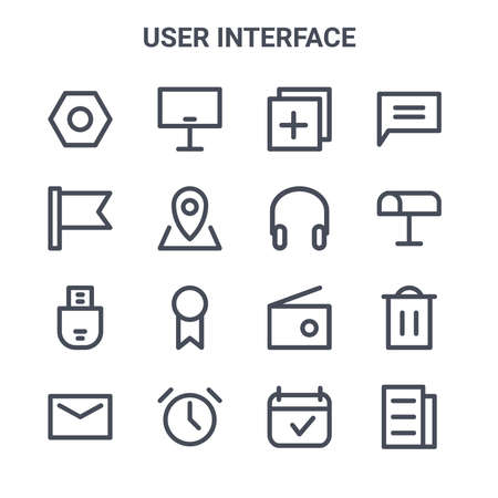 set of 16 user interface concept vector line icons. Illustration