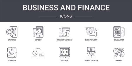 set of 10 business and finance concept line icons