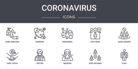set of 10 coronavirus concept line icons Illustration