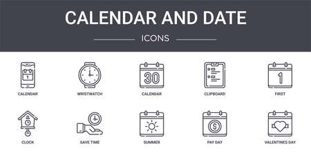 set of 10 calendar and date concept line icons
